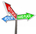 Stuck Between Rock Hard Place 3 Arrow Road Signs Royalty Free Stock Photo