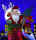 Stuck santa computer generated d cartoon illustration depicting claus in a rooftop chimney Royalty Free Stock Photo