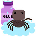 Stuck up spider a humorous illustration of a on glue Royalty Free Stock Photography