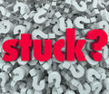 Stuck word question mark background caught problem the on a of marks to illustrate being in a sticky situation trouble or issue Stock Images