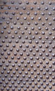 Studded, bolted, doornailed wood plank Royalty Free Stock Photo