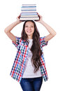 Student with books isolated on white Royalty Free Stock Images