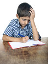 Student boy exam young at learning difficulties thoughtful thinking isolated on white Stock Photos