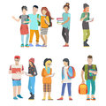 Student casual urban young people couple college flat vector