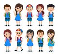 Student characters vector set. School kids cartoon characters wearing school uniform with various poses