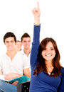 Student in class raising hand Stock Photo