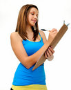 Student with clipboard Stock Photo