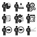 Student degree in business management a set of human pictogram representing this include financial analysis human resources Stock Image