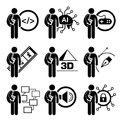 Student degree in information technology a set of human pictogram representing course this include studies computer science ai Stock Photos