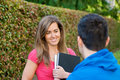 Student discussion Royalty Free Stock Photo
