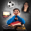 Student distracted Royalty Free Stock Photo