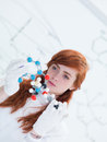Student dmt molecular analysis close up of a in a chemistry lab analyzing model Royalty Free Stock Image