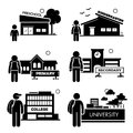 Student education level clipart a set of pictograms representing levels starting from preschool kindergarten primary school Stock Image
