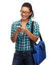 Student in eyeglasses with smartphone and bag education technology people concept smiling female african american Royalty Free Stock Photography