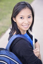 Student girl on campus asian university college smiling Stock Images