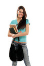 Student girl cheerful holding books Royalty Free Stock Images