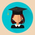 Student girl, flat style, beautiful vector icon, avatar,