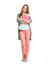 Student girl full length portrait teenage holding books Stock Image