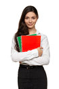 Student girl holding colorful exercise books Royalty Free Stock Photo