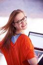 Student girl with laptop computer Royalty Free Stock Photo