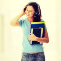 Student girl listening to the music Royalty Free Stock Photo