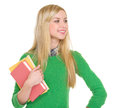 Student girl looking on copy space Stock Photography