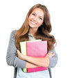 Student girl portrait cute teenage holding books Royalty Free Stock Image