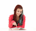 Student girl showing something in book Royalty Free Stock Images