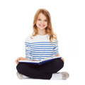 Student girl studying and reading book education school concept little Royalty Free Stock Images