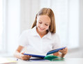 Student girl studying at school education and concept little Stock Photos