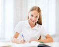 Student girl studying at school education and concept little Royalty Free Stock Photography