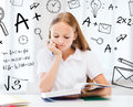 Student girl studying at school education and concept little Royalty Free Stock Photo
