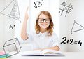 Student girl studying at school education and concept little and raising hand Royalty Free Stock Photography