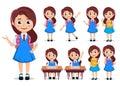 Student girl vector character set. School kids cartoon characters wearing uniform and backpack