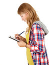 Student girl writing on clipboard Stock Photos