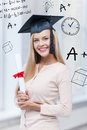 Student in graduation cap with certificate education and school concept happy Royalty Free Stock Images