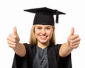 Student in graduation gown gesturing thumbs up portrait of excited college mortar board and against white background horizontal Stock Photos