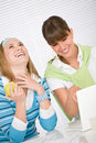 Student at home - two young woman with laptop Royalty Free Stock Photo