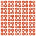 100 student icons hexagon orange