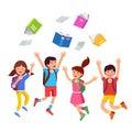 Student kids jumping raising hands above head