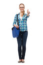 Student with laptop bag showing thumbs up education and people concept smiling female in eyeglasses Stock Images