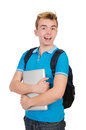 Student with laptop on white Royalty Free Stock Photo