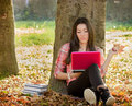 Student learning using laptop beautiful autumn afternoon is the right time for Stock Image