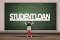 Student loans concept young asian college hold a sign of loan Stock Photography