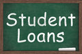 Student loans written on a chalkboard with a piece of white chalk Stock Photography