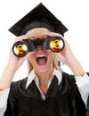 Student looking through binoculars Royalty Free Stock Images