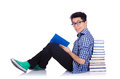 Student with lots of books on white Stock Photo