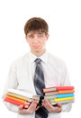 Student with many books sad holding pile of the isolated on the white background Royalty Free Stock Images