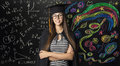 Student in Mortarboard Graduation Hat, Young Woman Learning Math Royalty Free Stock Photo