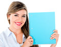 Student with a notebook female holding and smiling isolated over white Stock Image